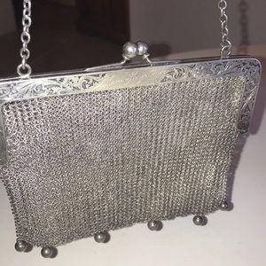 Antique Victorian German Silver Chain Mesh Purse